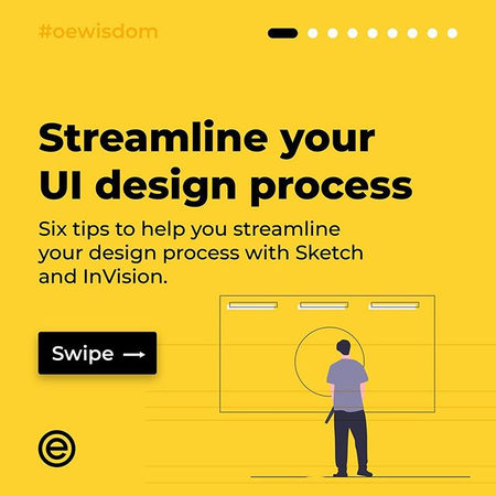 Streamline your UI design process . . . Six tips to help streamline your design process with Sketch and InVision . . . #oewisdom #designthinking #designprocess #stevejobs #grid #ui #tips #userinterface #designer #graphicdesign #designtips #design #ui__ux #vanila.design #ux_store #wireflow